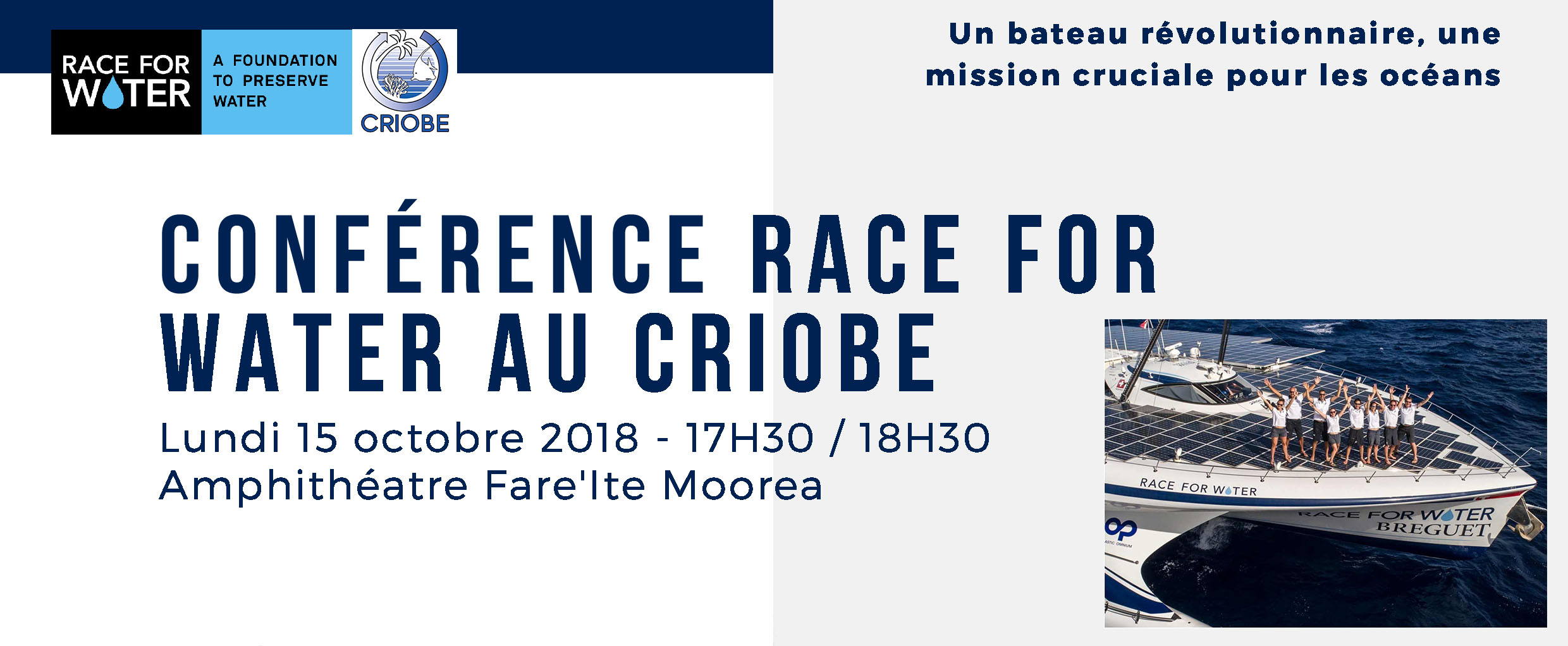 Conférence au criobe race for water